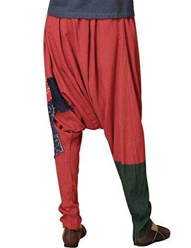 Youlee Mujeres Cintura Elástica Patchwork Harén Pantalones Rojo