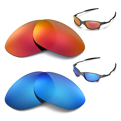 ff2741851b New Walleva Polarized Fire Red + Ice Blue Lenses For Oakley X Metal XX