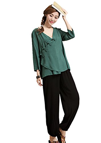 AvaCostume Womens Chinese Button V neck