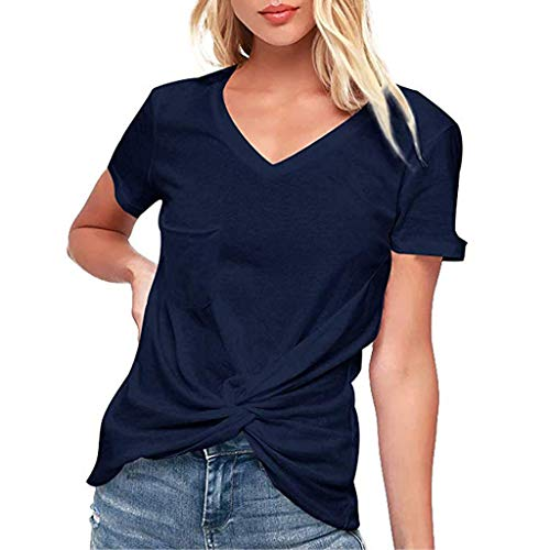 Off Shoulder Sweater Womens Casual Soft O Neck Knit Side Twist Blouse Top T-Shirt Short Sleeve Shirts ❤️Sumeimiya Navy ()