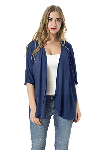 Women's Short Sleeve Beachwear Sheer Chiffon Kimono Cardigan Solid Casual Capes Beach Cover up Blouse (Blue, XL)