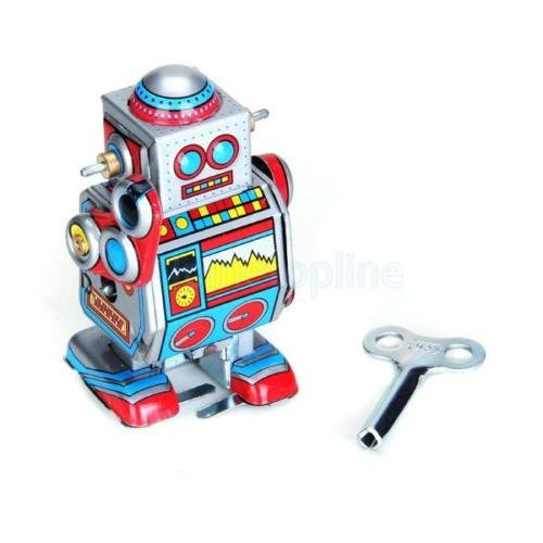 Shalleen Mini Vintage Retro Tin Wind Up Robot Movable Toy for Adult Collector Multi-color