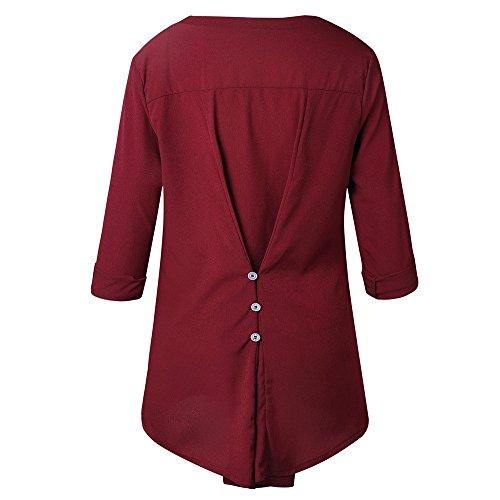 Femmes Blouse Shirt Longues Dames O T Bouton Cou Manches Tops Dentelle MuSheng Rouge dHPnUqWd