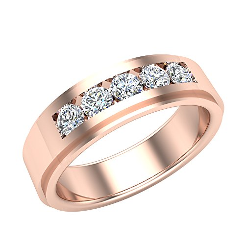 0.75 ct tw Men's Wedding Band 5 Stone Channel Setting 18K Rose Gold (Ring Size 12)