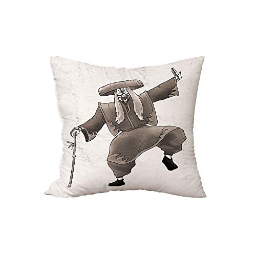 iPrint Polyester Throw Pillow Cushion,Kabuki Mask Decoration,Orient Style Artist with Makeup and Costume Pose Dance Ancient Art Decorative,Umber White,17.7x17.7Inches,for Sofa Bedroom Car Decorate