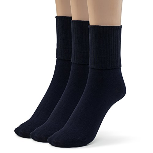 Silky Toes 3 or 6 Pk Women's Turn Cuff Bamboo Casual Socks, Triple Roll Dress Crew Socks (Queen (13-15), Navy -3 Pairs) ()