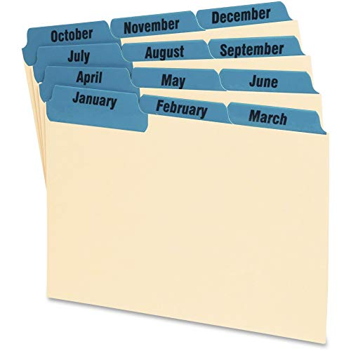 (Oxford 04613 Laminated Tab Index Card Guides, Monthly, 1/3 Tab, Manila, 4 x 6, 12/Set (OXF04613) )