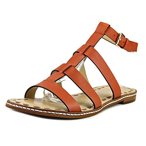 MICHAEL Michael Kors Womens Fallon Leather Open Toe, Orange/Acorn, Size 6.0