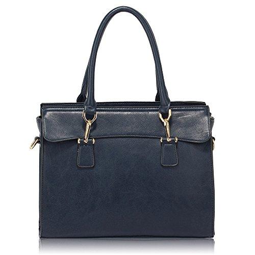Womens Large Handbags Ladies Tote Shoulder Bags Designer Faux Leather New Design 1 - Navy