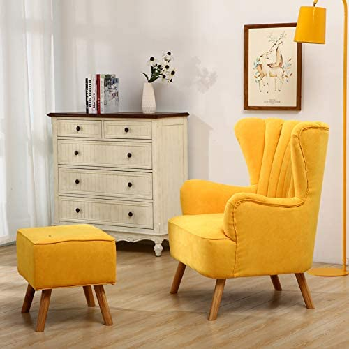 INMOZATA Armchair with Footstool Teal Linen Fabric Occasional Accent Chairs Stunning Shell Wingback Tub Chair with Wood Legs for Living Room Bedroom Lounge (Teal) Yellow