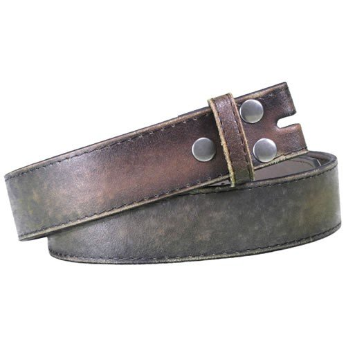 "Vintage Look Distressed Brown Leather Strap Belt Snap On for Buckle (M (33""-35""))"
