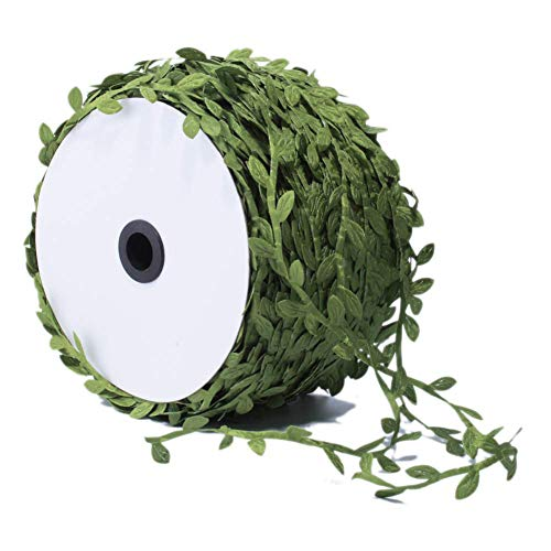 Grass Green Leaves Leaf Trim Ribbon by The Yard for DIY Crafts Party Wedding Home Garland Decorations (1 inches, 20 Yards, Grass ()
