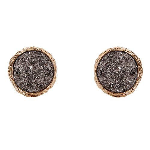 (Humble Chic Simulated Druzy Studs - Gold-Tone Plated Round Circle Simple Minimalist Crystal Post Ear Stud Earrings for Women, 16mm Simulated Hematite, Grey, Metallic, Silver-Tone, 0.63 inch)