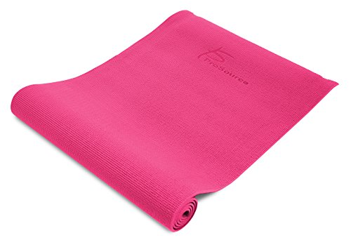ProSource Premium 1/4 Thick High Density Exercise Yoga Mat with Comfort PVC Foam and Carrying Straps, Pink