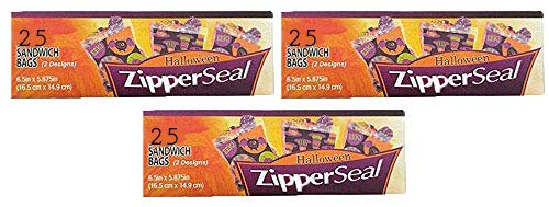 Set of 75 Halloween Zipper Seal Sandwich Bags - 3 Boxes, 25 Bags in Each Box