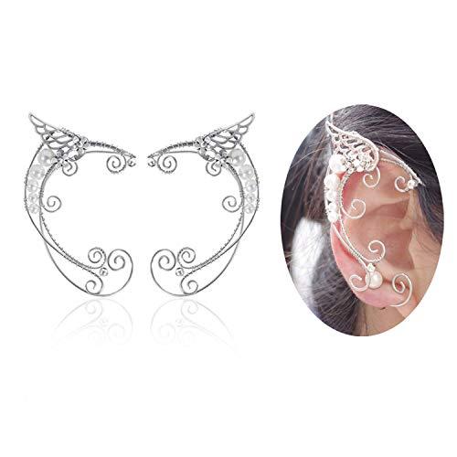 Yolmina Elf Ear Cuffs, Handmade Clip-on Earrings - Pearl Wing Tassel Filigree Elven Earrings for Women - Fantasy Fairy Halloween Costume, Cosplay, Wedding, Handcraft -