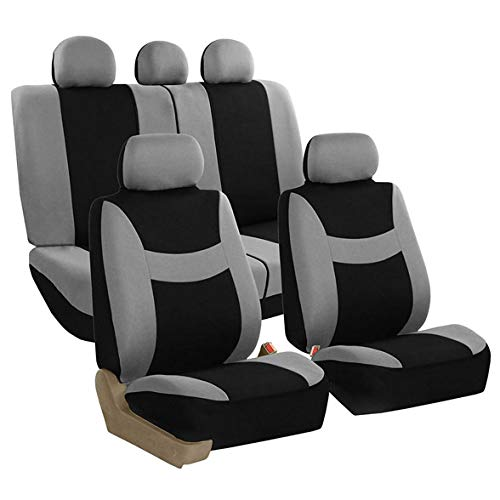 FH Group Light & Breezy Cloth Seat Cover Set Airbag & Split Ready, Gray/Black- Fit Most Car, Truck, SUV, or Van ()