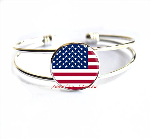Charming Bracelet,American Flag Bracelet United States Flag Jewelry, American Patriot Gift, American Army Flag Bracelets, United States Flag Patriotic (Charming Wholesale Jewelry)