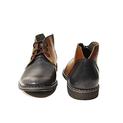 PeppeShoes Modello Marcello - Handmade Italiano da Uomo in Pelle Blu Navy Chukka Boots - Vacchetta Pelle Morbido - Allacciare