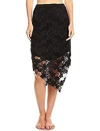 Womens Asymmetrical Lace Midi Skirt//