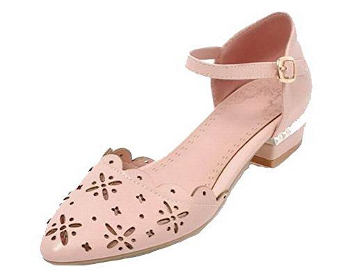 VogueZone009 Women Buckle Pu Closed-Toe Low-Heels Solid Sandals, CCALP014529 Pink
