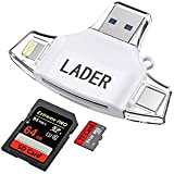 LADER SD / Micro SD Card Reader for iPhone iPad / Android Phone / Apple Macbook / Computer, Memory Card Adapter with Lightning, Micro USB, USB C, USB 4 Interfaces, Picture and Video Viewer for Camera