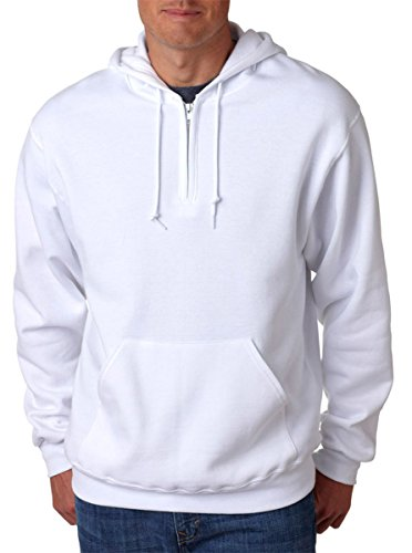 Jerzees Mens NuBlend 50/50 Fleece Quarter-Zip Pullover Hood (994MR) -WHITE ()