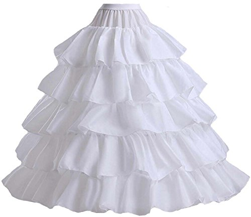 V.C.Formark 5 Slip Ruffles 4 Hoops Petticoat Underskirt for Bridal Wedding Gown Evening Dress -