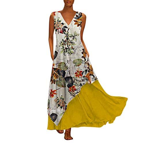 (Dressin Women Floral Dress Bohe Long Dress Sleeveless V Neck Dresses Sundress with Pocket)