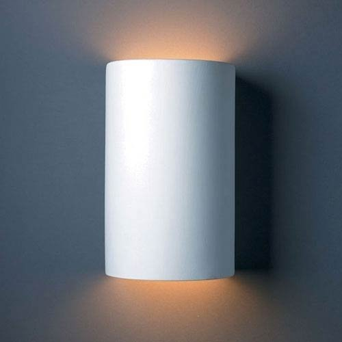 Outdoor Sconce Bottom - Justice Design Group Lighting CER-1265-BIS Justice Design Group-Ambiance Collection-Large Cylinder Wall Sconce-Open Top & Bottom-Bisque Finish, (Unfinished Ceramic)