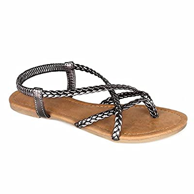 ANNA Women's Braided Strappy Flat Y-Strap Flip Flop Sandal