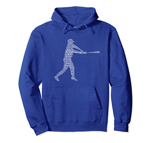 Unisex Baseball Hoodie for Boys Teens Men Word Cloud Silhouette Medium Royal Blue
