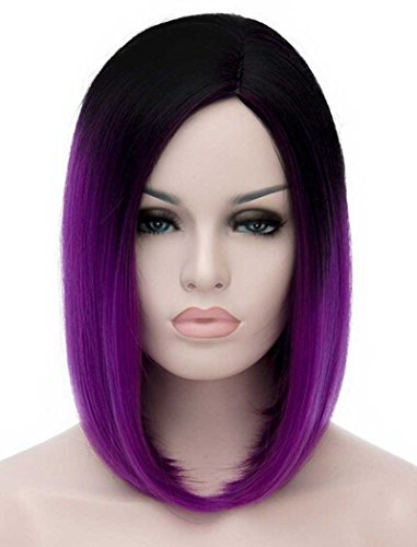 Tsnomore Chic Shoulder Length Ombre Bob Women Wig (Black to Light Purple) - Purple Black Wig