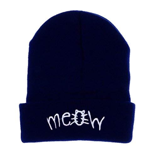 OVERMAL Winter Knitting MEOW Beanie Hat And Snapback Men And Women Hiphop Cap (Blackhawk Liner Glove)