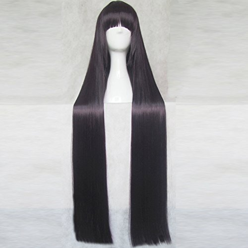Busujima Saeko Costume (Busujima Saeko HIGHSCHOOL OF THE DEAD Deep Purple Black 100CM Long Cosplay Costume Wig + Free Wig)