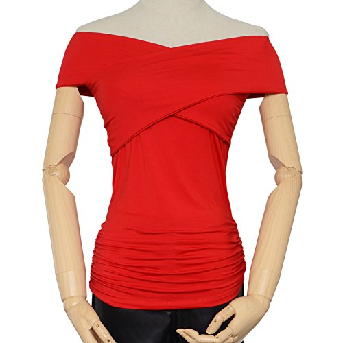 6bbb66d356673d Maggie Tang Shoulder Trendy Fitted Cross Boat Neck Modal Blouse Top T-shirt  - Buy Online in Oman. | Apparel Products in Oman - See Prices, Reviews and  Free ...
