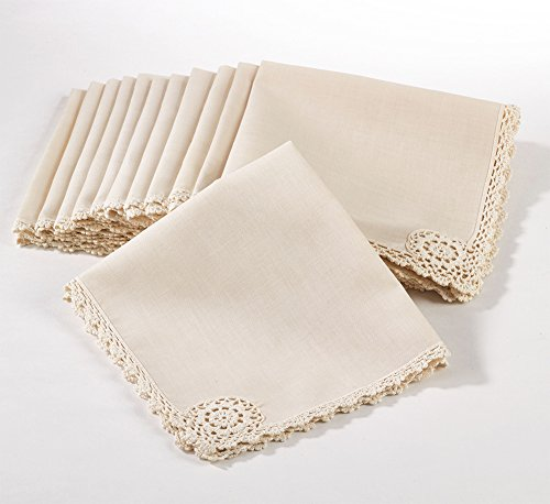 Fennco Styles Handmade Crochet Lace Beige Napkins, 18-inch Square, Set of 12