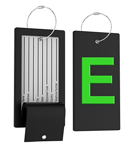 Luggage Tag Initial Bag Tag - Fully Bendable Tag w/Stainless Steel - Mine Luggage Tag