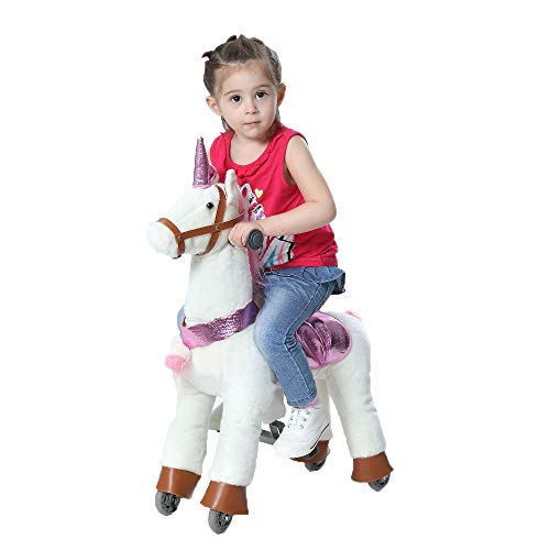 Happy Island Cute Little Pony Foal Giddy Up Ride On Horse Walking Simulated No Battery No Electricity Mechanical Horse Large (Unicorn, Small) ()