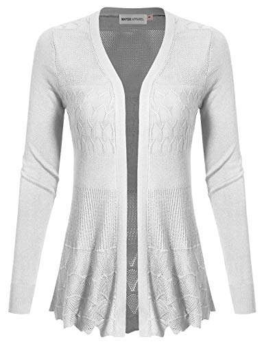 - MAYSIX APPAREL Womens Long Sleeve Lightweight Crochet Knit Sweater Open Front Cardigan WHITE L