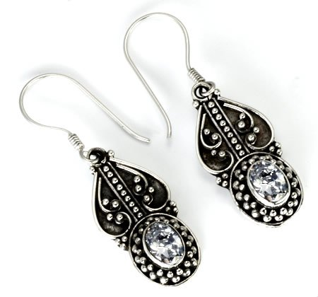 Bali BUGGER - Indonesian Style Sterling Silver Earrings French Hook- Red Dark Red