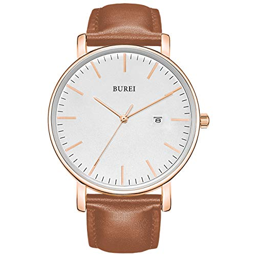 BUREI Men's Fashion Minimalist Wrist Watch Analog White Date with Brown Leather Band (White-Brown)