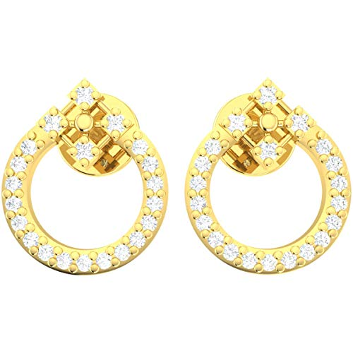 0.1ctw Round Cut Natural Diamond 14k Yellow Gold Earrings For Women Circle Drop HI Color I1-I2 Clarity
