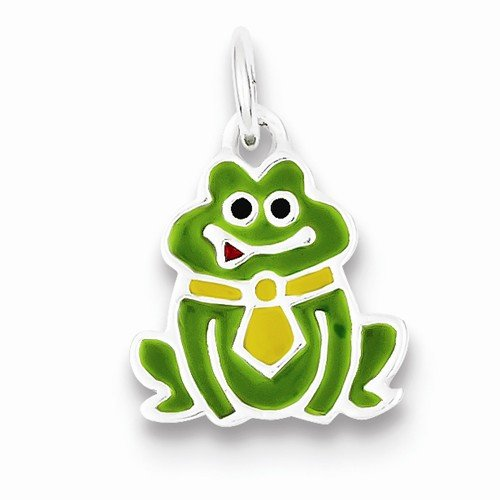 Enameled Frog Pendant - Solid 925 Sterling Silver Pendant Enameled Frog Charm (20mm x 15mm)