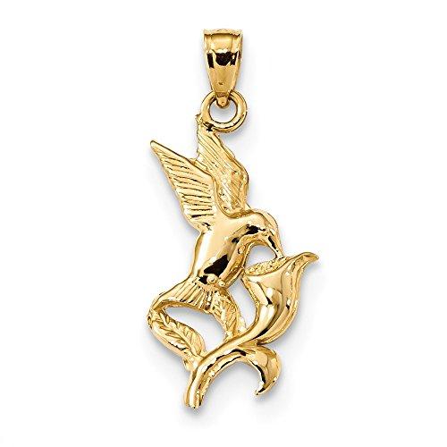 Top 10 Jewelry Gift 14k Polished Hummingbird w/Flower - Pendant Polished Hummingbird