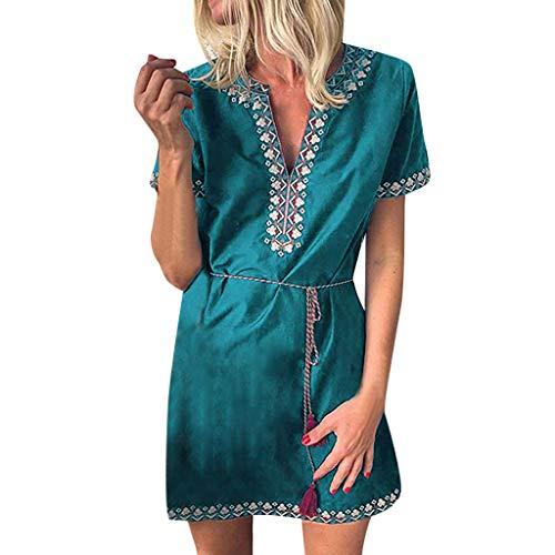 - Womens Floral Print V-Neck Short Sleeve Mini Dress Tassel Belted Casual Beach Sundress (XXXL, Green)