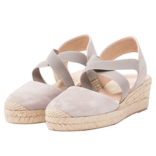 FISACE Womens Strappy Espadrilles Platform Wedge Sandal Cap Toe Elastic Band Criss Cross Shoes
