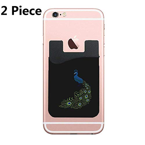 Football Jeweled (ZninesOnhOLD Jeweled Peacock Cell Phone Stick On Wallet Card Holder Phone Pocket for iPhone, Android and All Smartphones - 2 Piece)