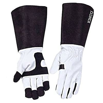 KINCO 2103-S Pigskin Leather Ladies Protective Garden Rose Gloves, Small, Black/White