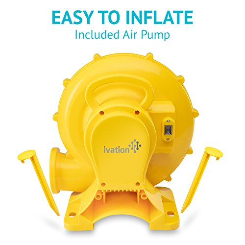 Deluxe Inflatable Water Slide Park – Heavy-Duty Nylon Bouncy Station for Outdoor Fun - Climbing Wall, Two Slides & Splash Pool – Easy to Set Up & Inflate with Included Air Pump & Carrying Case by Sunny & Fun (Image #6)